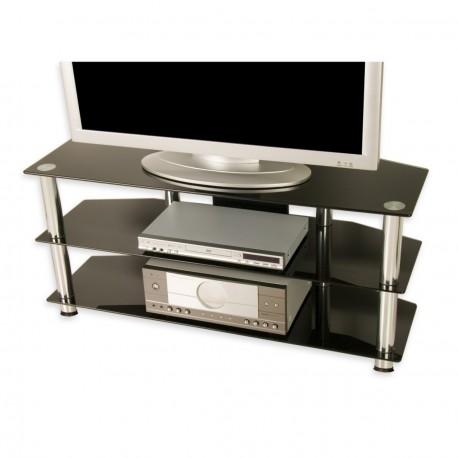meuble tv en verre tremp noir 110 x 50 x 40 cm. Black Bedroom Furniture Sets. Home Design Ideas