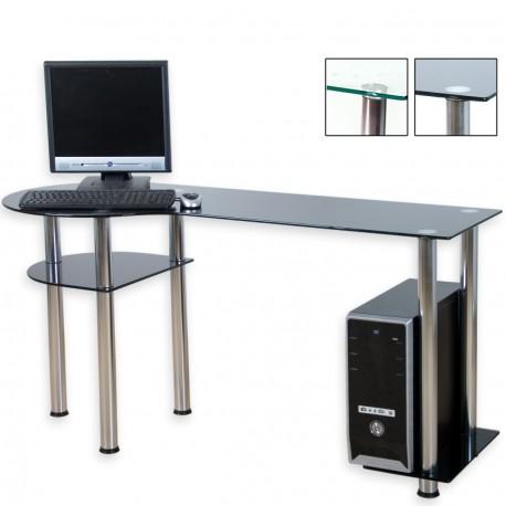 Bureau d'ordinateur en verre noir 145 x 60 x 72 cm