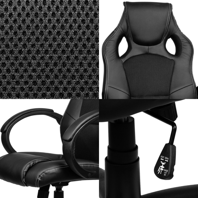 fauteuil de bureau sport racing noir noir. Black Bedroom Furniture Sets. Home Design Ideas
