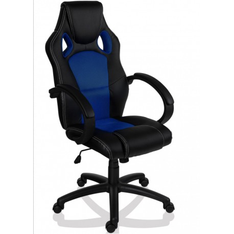 Fauteuil de bureau Sport Racing noir et bleu