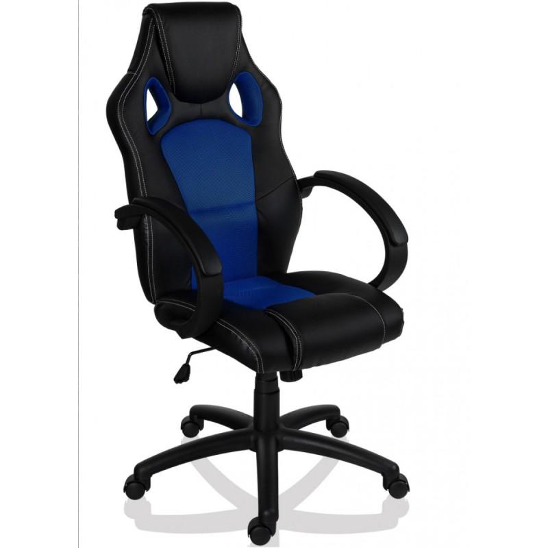 fauteuil de bureau sport racing noir et bleu. Black Bedroom Furniture Sets. Home Design Ideas