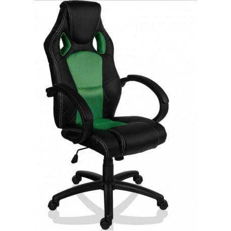 fauteuil de bureau sport racing noir et vert. Black Bedroom Furniture Sets. Home Design Ideas