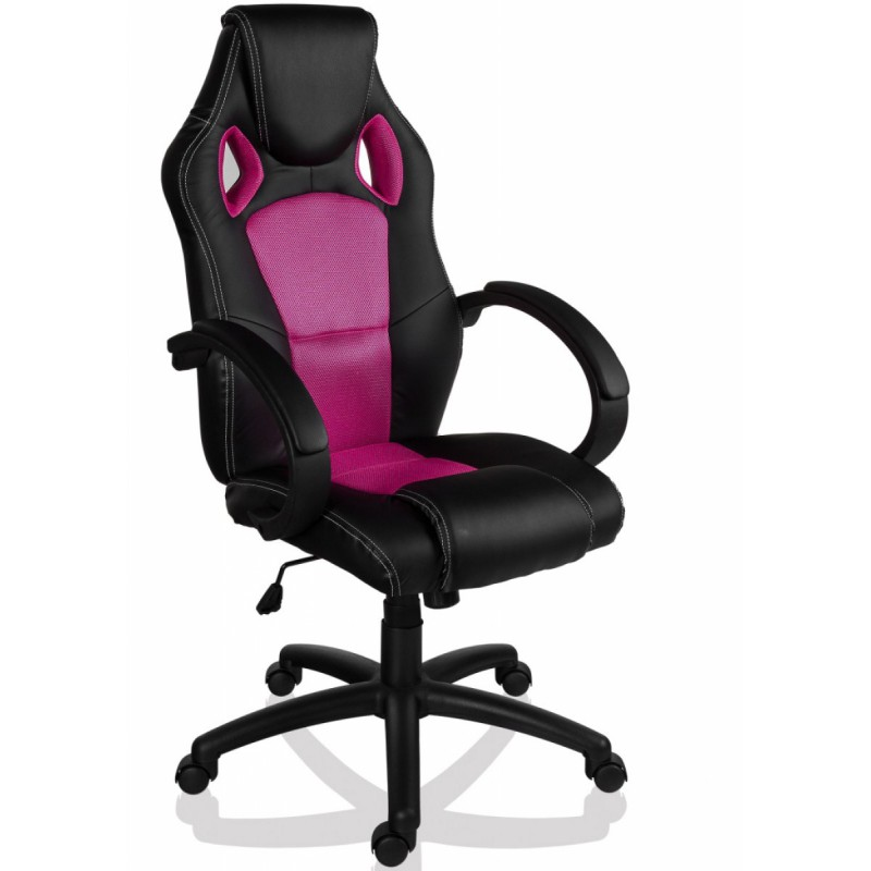 fauteuil de bureau sport racing noir et rose. Black Bedroom Furniture Sets. Home Design Ideas