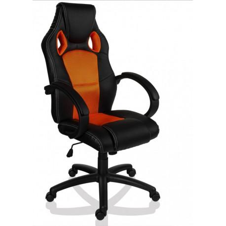 Fauteuil de bureau Sport Racing orange et noir