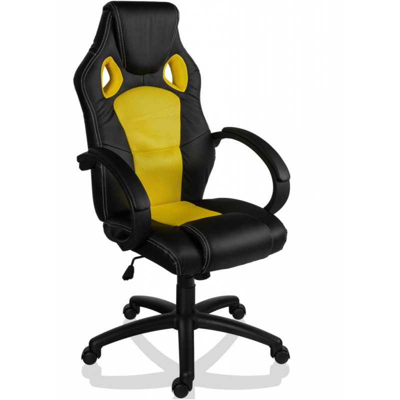 fauteuil de bureau sport racing jaune et noir. Black Bedroom Furniture Sets. Home Design Ideas