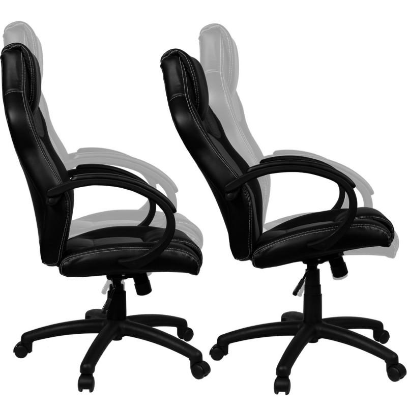 Fauteuil de bureau sport racing blanc et noir - Fauteuil blanc et noir ...