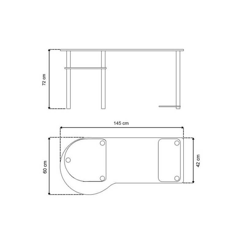 bureau pour ordinateur en verre clair 145x60x72cm. Black Bedroom Furniture Sets. Home Design Ideas