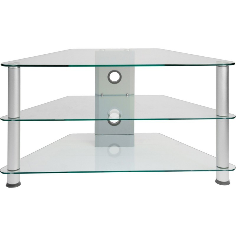 Meuble d 39 angle tv en verre clair 96x46x50cm for Table de television en verre
