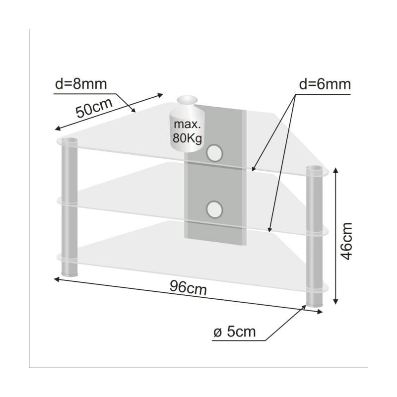 Meuble dangle TV en verre clair 96x46x50cm -> Meuble Tv D Angle Plateau Verre