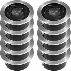10 Lampes solaires de sol avec LED en inox