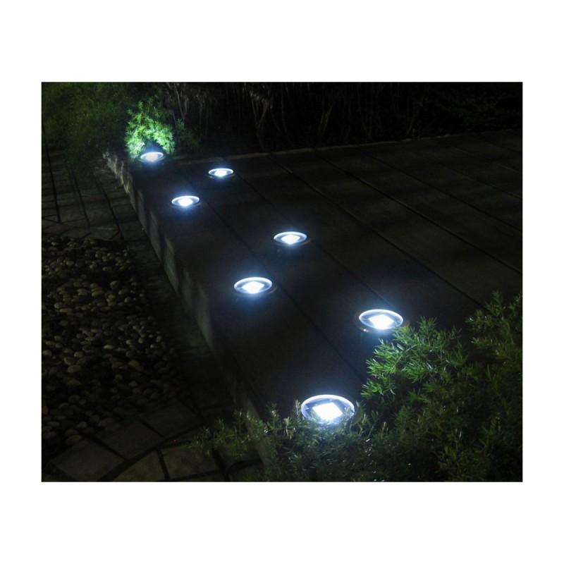 10 lampes solaires de sol avec led en inox - Luces de jardin solares ...