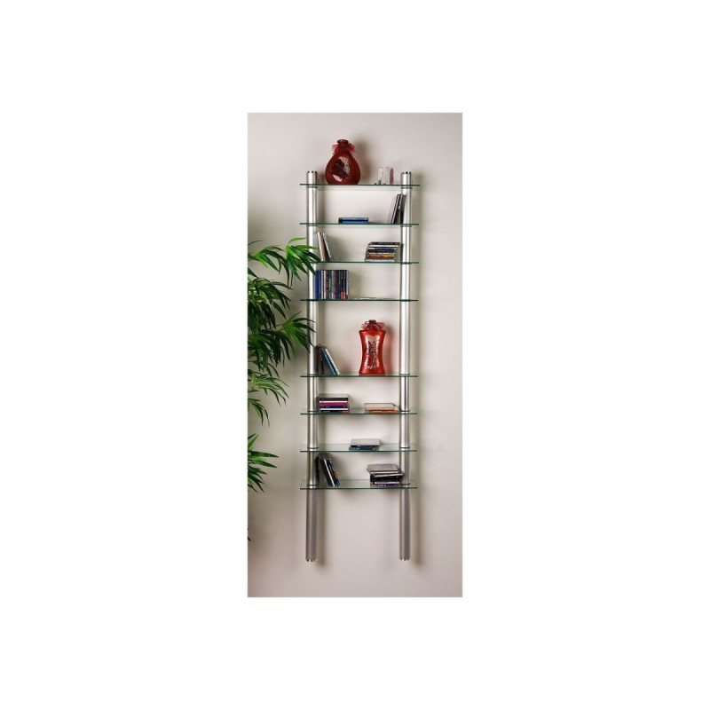 Etag re cd dvd verre clair 164cm for Etagere verre