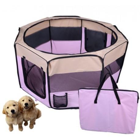 parc chiot chien pliable en tissu rose 125cm. Black Bedroom Furniture Sets. Home Design Ideas