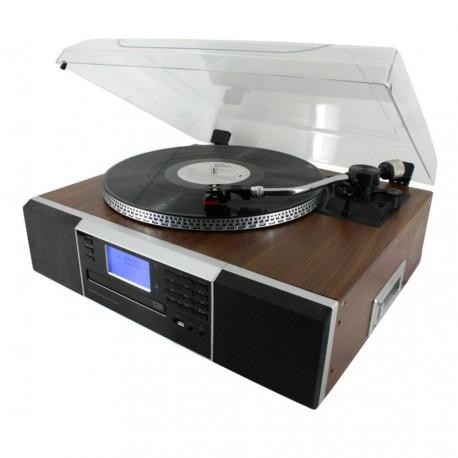 Platine vinyle avec graveur CD, lecteur cassette, radio et USD/SD