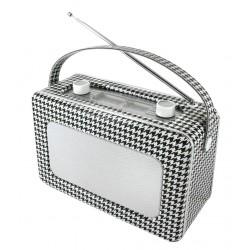 Radio rétro revêtement en cuir synthétique noir et blanc