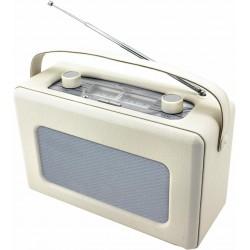Radio rétro revêtement en cuir synthétique blanc