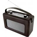 Radio rétro revêtement en cuir synthétique marron foncé