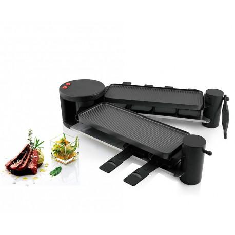 Raclette grill articulable en 2 parties 2x4 personnes