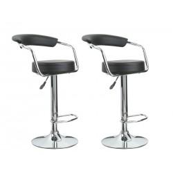 2 tabourets de bar design noir super confort avec repose-pieds