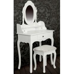 Meuble coiffeuse Table de maquillage blanche avec miroir et tabouret