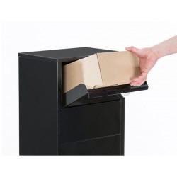 Boîte aux lettres colis sur pied noir