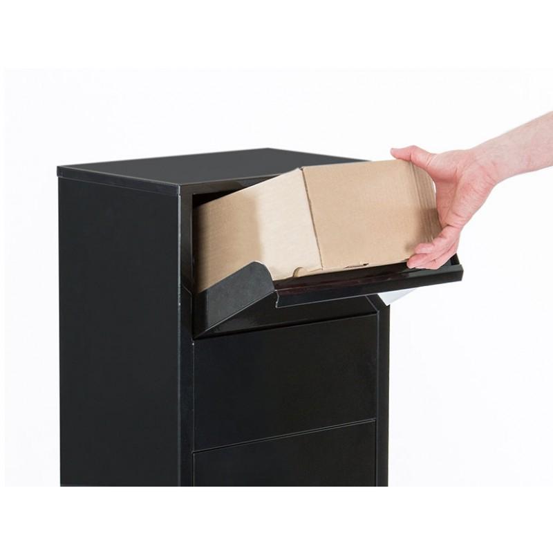 bo te aux lettres colis sur pied noir. Black Bedroom Furniture Sets. Home Design Ideas