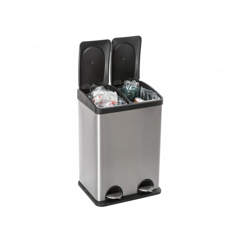 poubelle 2 compartiments 2x20l. Black Bedroom Furniture Sets. Home Design Ideas
