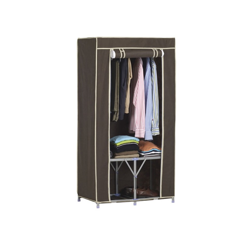 armoire penderie tissu 155x80x46cm. Black Bedroom Furniture Sets. Home Design Ideas