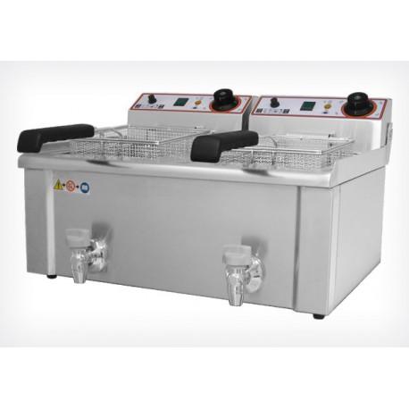 Friteuse double bac électrique professionnelle 9L+9L