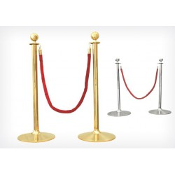 Paire de Poteaux de guidage doré avec cordon rouge - Beckers DIV01848