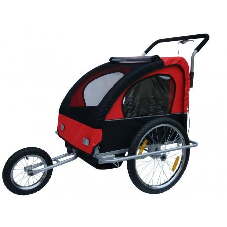 Jogger Remorque à vélo 2 en 1, 1 ou 2 enfants Rouge et noir