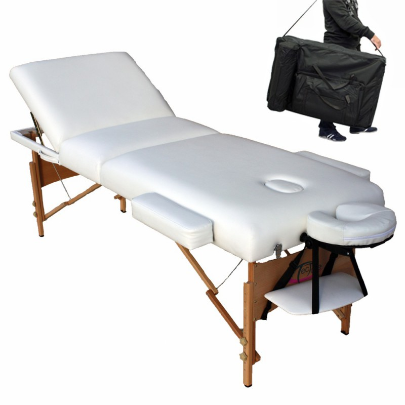 table de massage pliante lit de massage blanc paisseur de coussin 10cm. Black Bedroom Furniture Sets. Home Design Ideas